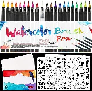 HOWAF 20 Stylo Aquarelle + 1 Aqua Brush, Feutre pinceaux Aquarelle avec Embout en Nylon Flexible, 8 Papier Aquarelle, 5 po...
