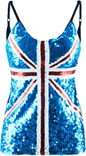 Womens UK Sequin Tank Top United Kingdom Great Britain British Union Jack Flag