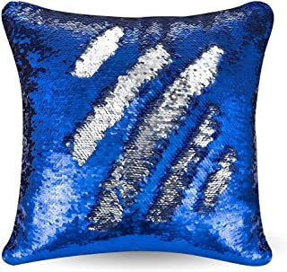 """URSKYTOUS Reversible Sequin Pillow Case Decorative Mermaid Pillow Cover Color Changing Cushion Throw Pillowcase 16"""" x 16"""",Dark Blue and Silver"""