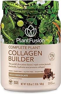 PlantFusion Collagen Builder Plant Based Peptides Protein Powder | Vegan Collagen Supplement |Collagen Building, Skin Hydration, Joint Support, Healthy Hair, Gluten-Free, Non-GMO, Chocolate, 19.05 Oz