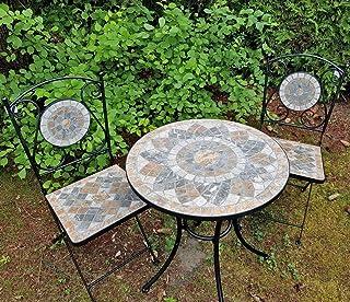 2x sillas y mesa de jardín de mosaico de piedra natural conjunto de muebles de balcón, resistente a las heladas para Interior y Exterior