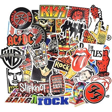 Chileeany 52 Pezzi - Adesivi Valigia, Retro Vintage Stickers per Valigia, Skateboard, Chitarra (Rock Band)