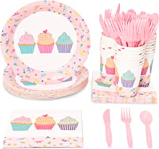 Cupcake Party Supplies, Paper Plates, Napkins, Cups and Plastic Cutlery (Serves 24, 144 Pieces)