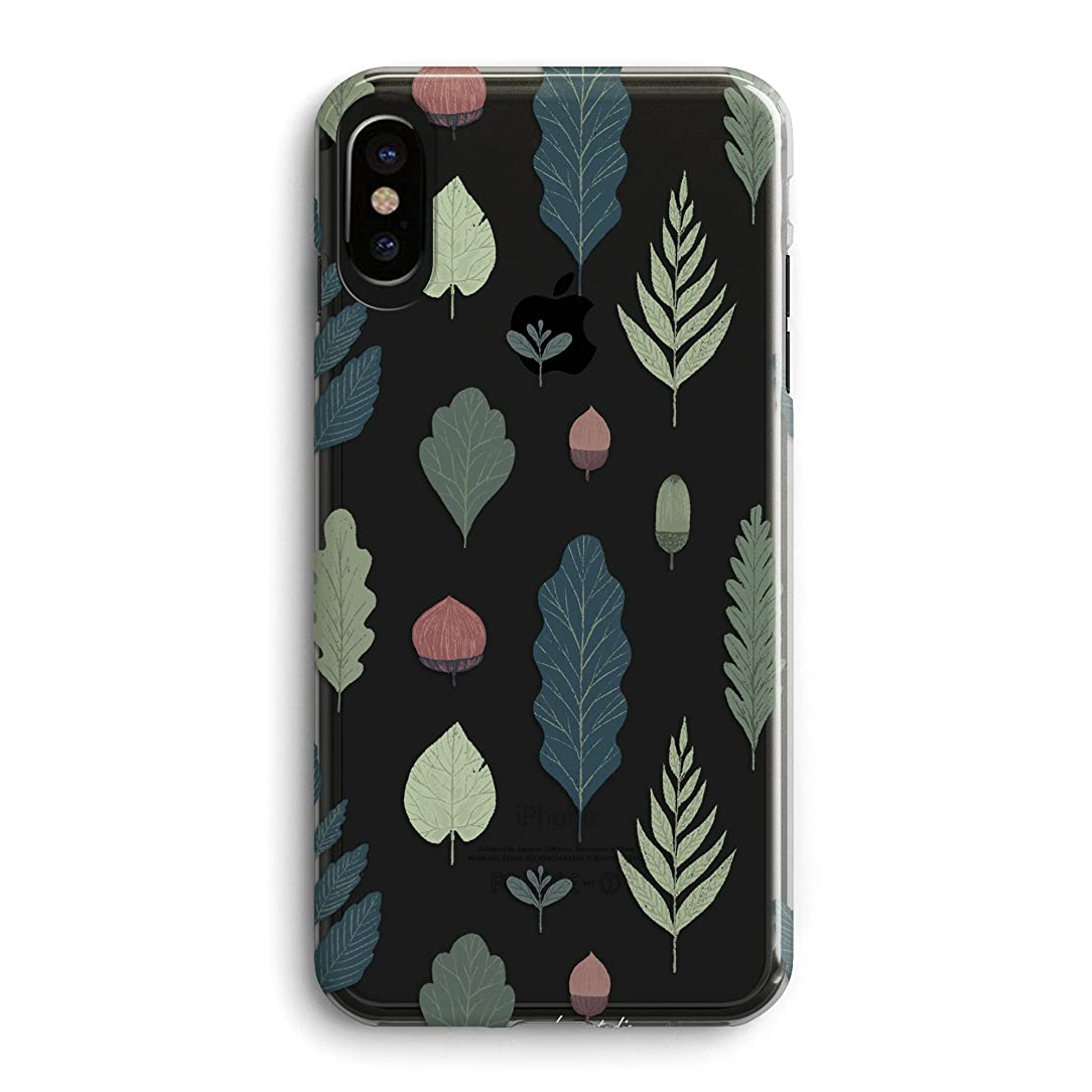iPhone Xs Max Case,Girls Women Fall Feather Nature Simple Trendy Chic Cute Funny Autumn Green Leaves Plants Simple Pine Nuts Colorful Floral Flowers Soft Clear Case Compatible for iPhone Xs Max