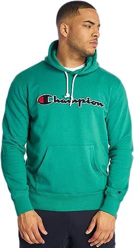Champion Sweat Capuche Vert Emeraude 212940 Logo brodé Poignet