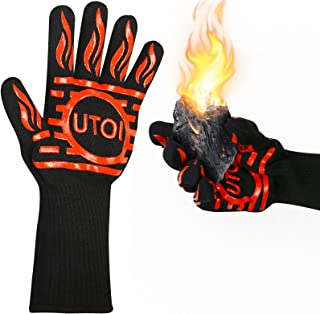 UTOI BBQ Grill Gloves, 1472°F Heat Resistant Barbecue Gloves Oven Mitts for Kitchen Garden BBQ Grilling and Outdoor Cookin...