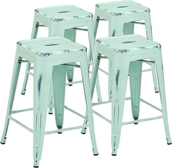 Pioneer Square Haley 24 Inch Backless Square Seated Counter Height Metal Stool Set Of 4 Pastel Mint Blue