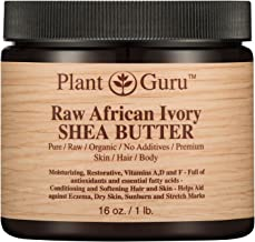 Raw African Shea Butter 16 oz Jar Unrefined 100% Pure Natural Ivory/White Grade A DIY Body Butters, Lotion, Cream, lip Balm & Soap Making Supplies, Eczema & Psoriasis Aid, Stretch Mark Product