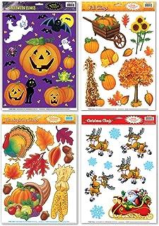 FAKKOS Design Fall/Winter Holiday Window Cling Decorations - Halloween, Thanksgiving, Christmas - 4 Large Sheet Sets