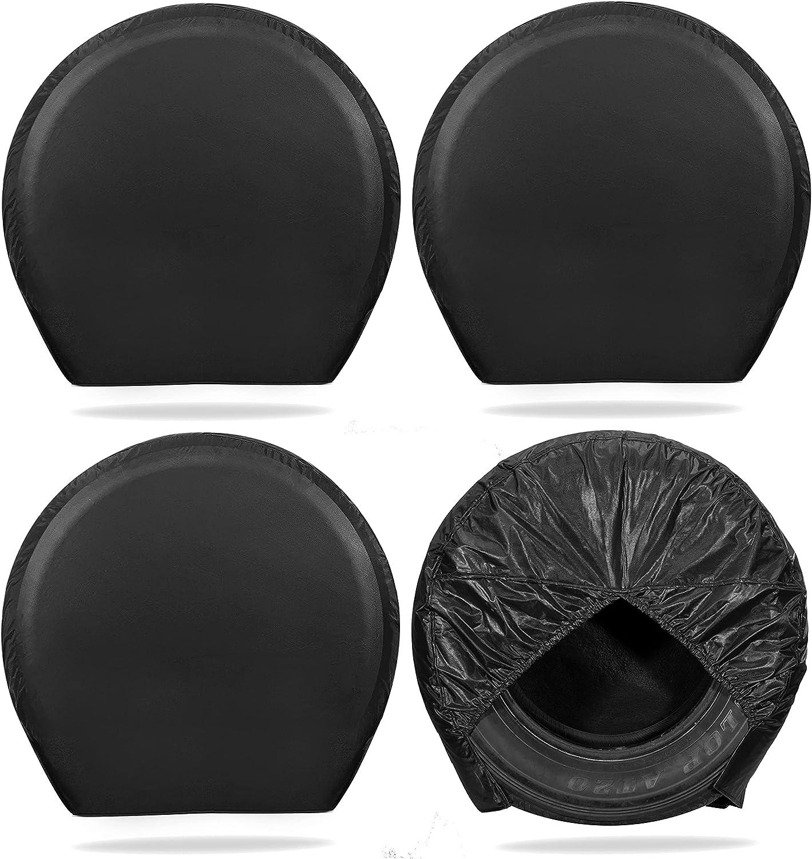 MOONET Tire Covers for RV Wheel (4 Pack Black), Oxford Waterproof UV Sun Protectors for Truck Motorhome Boat Trailer Camper Van SUV, for Diameter 40