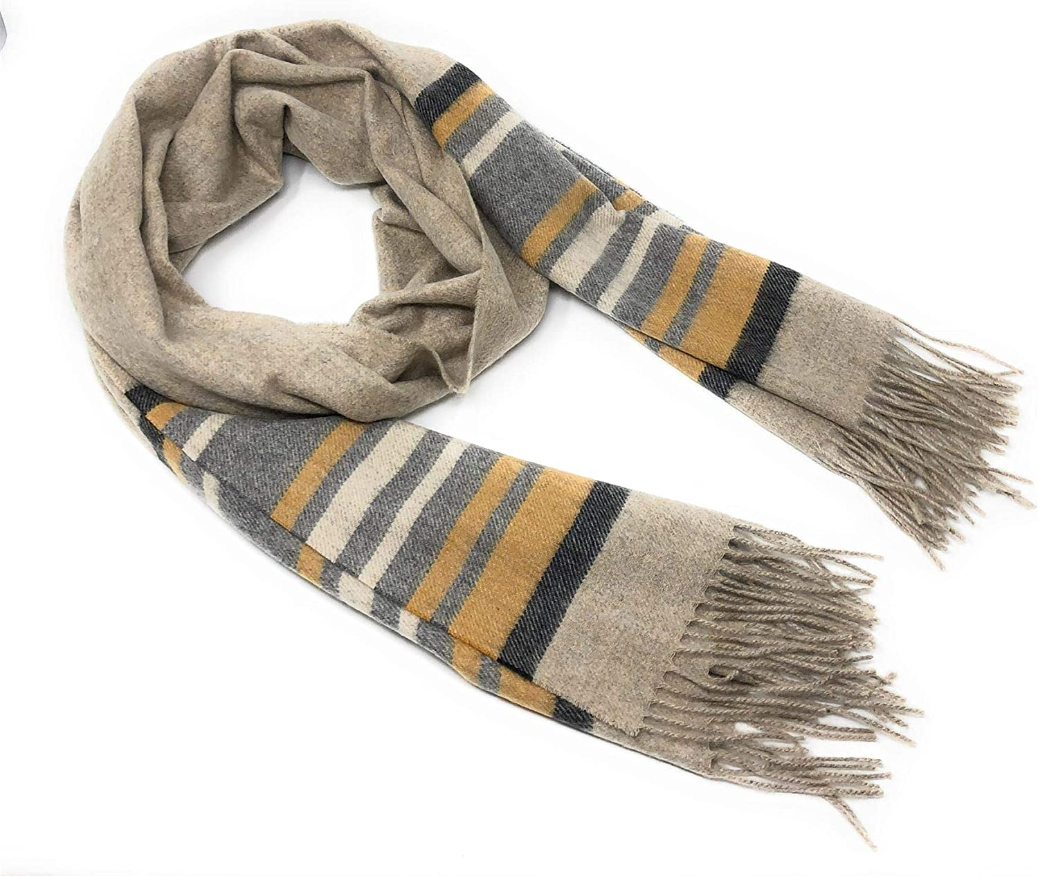 100% Pure Cashmere  Designer Stripe Design  Camel & Grey  Extra Wide