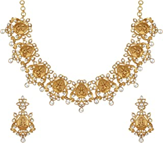 Aheli Beautiful Traditional Wedding Wear Faux Stone Studded Indian Lord God Ganesh Design Crafted Necklace Earrings Set Et...