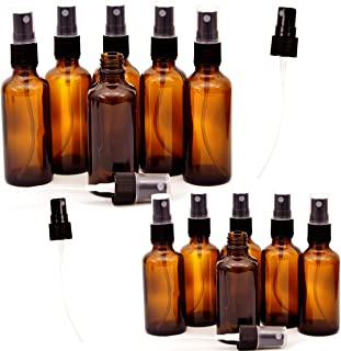 12 Pack Empty Amber Glass Spray Bottles, 6 Pack 4 Ounce and 6 Pack 2 Ounce Refillable Containers for Essential Oils, Cleaning Products, Aromatherapy, Durable Black Trigger Sprayer Fine Mist and Stream