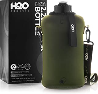 H2O Capsule 2.2L Half Gallon Water Bottle with Insulated Storage Sleeve – Tritan BPA Free Large Water Bottle/2.2 Liter (74 Ounce) Big Sports Bottle Jug with Handle