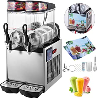 VEVOR 110V Slushy Machine 12Lx2 Bowl Frozen Drink 700W Margarita Maker for Supermarkets Restaurants Commercial Use, Sliver