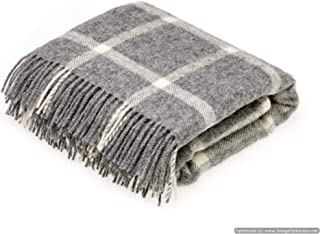 Bronte by Moon Natural Collection Pure New Wool Windowpane Grey Throw Blanket