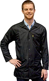 StaticTek Full Sleeve Snap Cuff ESD Jacket | Anti-Static Lab Coat | Certified Level 3 Static Shielding | Light Weight | ES...