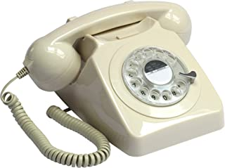 GPO 746 Rotary 1970s-style Retro Landline Telephone with Curly Cord and Authentic Bell Ring - Ivory