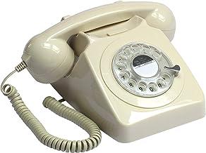 GPO 746 Teléfono Fijo de Disco con Estilo Retro de los años 70 - Cable en Espiral, Timbre auténtico - Marfil