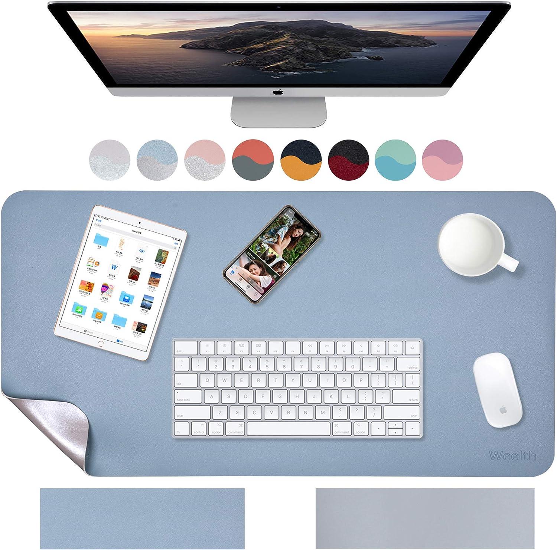 Weelth - Alfombrilla de Ratón 800x400mm, Estera de escritorio Antideslizante e Impermeable Cuero PU, Alfombrilla de escritorio de oficina, Doble cara