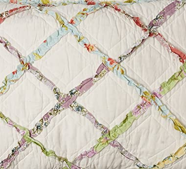 Laura Ashley   Ruffle Garden Collection 100% Cotton, Ultra-Soft Standard Sham with Envelope Closure, Pre-Washed for Extra Com