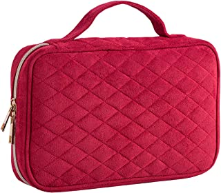 LELETVN Travel Jewelry Organizer Elegant Bag with Quilted Exterior and Padded for Protection - Keeps Your Earrings, Necklaces and Other Treasures Neat and Secure come with a Mirror