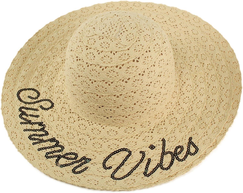 David & Young Crochet Lace & Sequins Wide Brim Summer Derby Beach Pool Floppy Dress Sun Hat