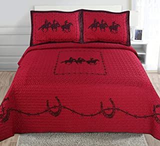 3-piece Printed Rustic Red Brown Chocolate Western Lone Star Barb Wire, Shoe Horse Cabin / Lodge Quilt Bedspread Coverlet Set (Full/ Queen, Three Horse-Rustic Red)