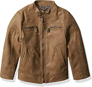 Urban Republic Boys' Toddler Pu Suede Faux Leather Moto Jacket, Brown, 3T