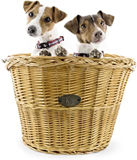 Assateague Large Willow Bicycle Basket for Dogs - Hand Crafted by Beach and Dog Co - Handlebar Bracket and Leashes Included