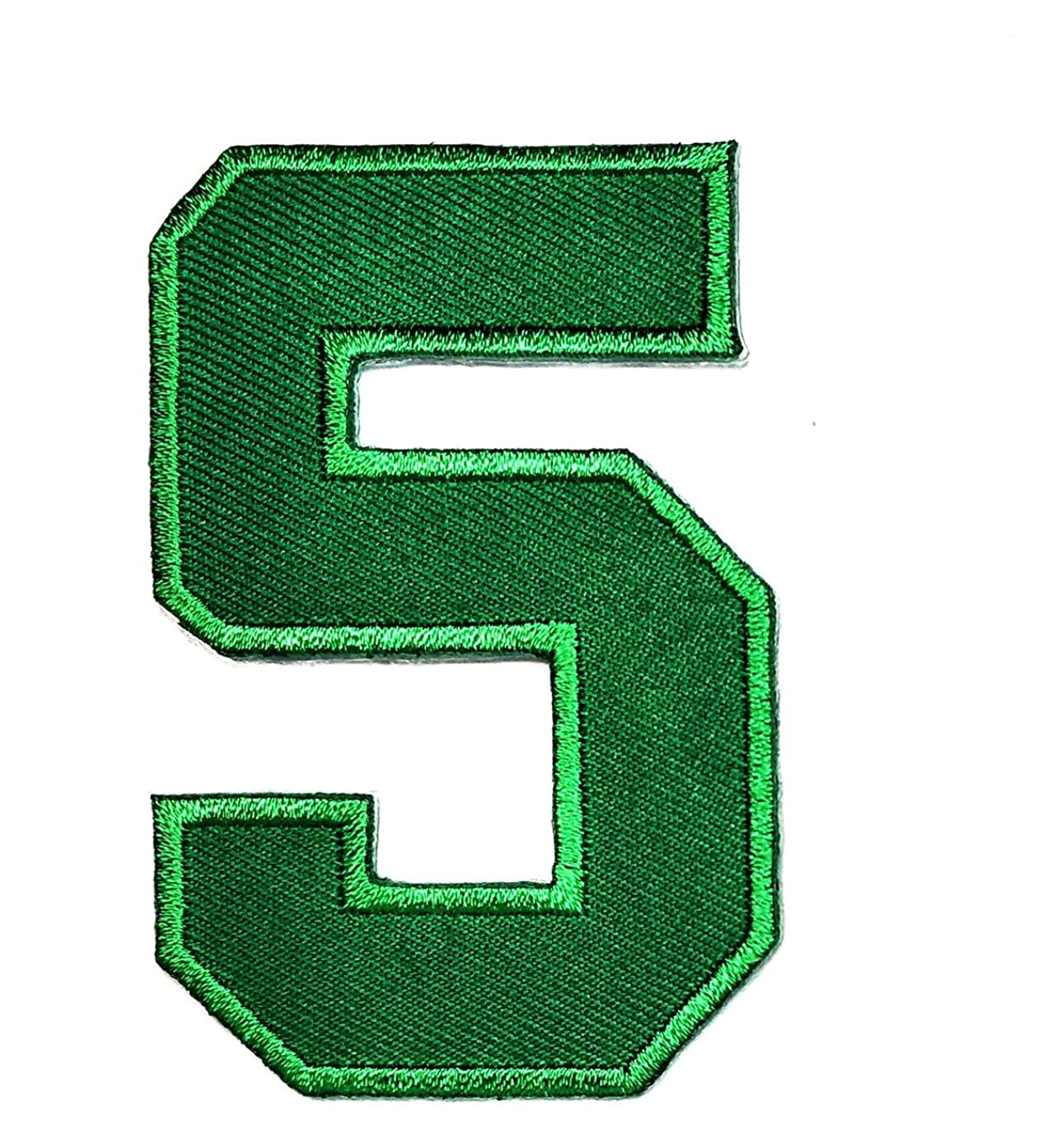 HHO Green Number 5 No 5 Math Counting No 5 School Patch Embroidered DIY Patches, Cute Applique Sew Iron on Kids Craft Patch for Bags Jackets Jeans Clothes