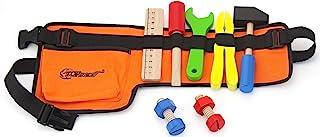 Top Race Cinturón de herramientas de tela gruesa de 10 piezas con herramientas de madera maciza, juego de roles de construcción. TR-W200