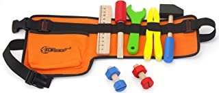 Top Race 10 Piece Tool Belt, Thick Fabric Tool Belt with Solid Wooden Tools, Construction Role Play Set