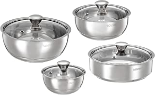 Amazon Brand - Solimo Stainless Steel Double Walled Insulated Serving Bowls and Roti Server (Set of 3 Serving Bowls 500ml/...