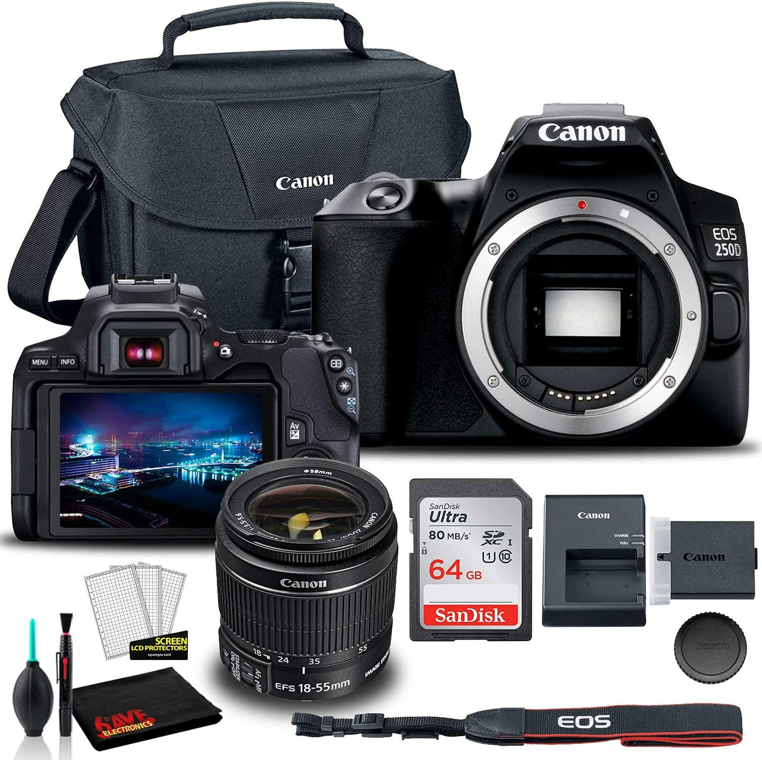 Canon EOS 250D Manufacturer regenerated product Superior DSLR Camera Black with Lens 3453C002 18-55mm
