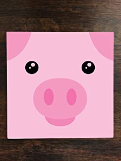Pig Piggy Piglet Cute Face One Piece Premium Ceramic Tile Coaster 4.25