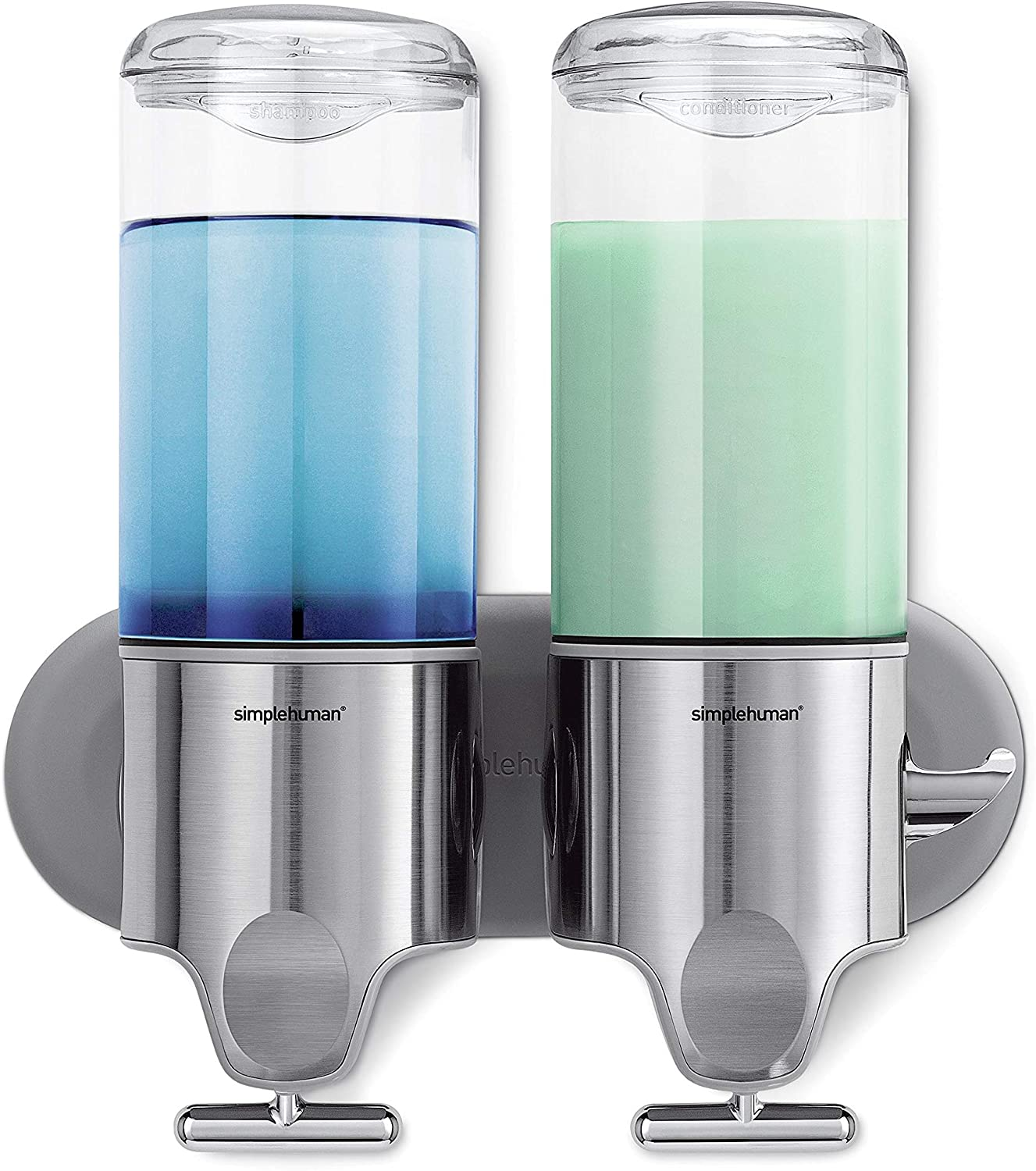 simplehuman Double Wall Mount Shower Pump, 2 x 15 fl. oz. Shampoo and Soap Dispensers, Stainless Steel