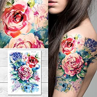 Supperb Temporary Tattoos - Watercolor Painting Bouquet of Summer Flowers