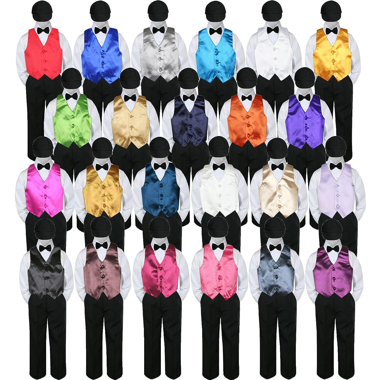 5pc赤ちゃん幼児用男の子フォーマルタキシードスーツブラックパンツシャツベスト蝶ネクタイ帽子5?–?7