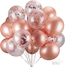 36pc Rose Gold Balloons & Rose Gold Confetti Balloons Set - 12 inch Premium Latex Balloon for Rose Gold Party Decorations, Bridal Shower Balloons, Bachelorette Party Decorations, Wedding Decorations