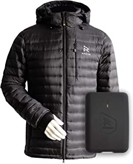Ravean 100% Down Heated Jacket for Men w/Detachable Hood & Rechargeable 12v Battery