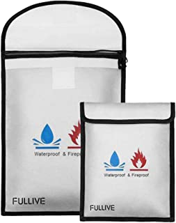 """Fireproof Document Bag - 15""""X11"""" Fireproof Safe Bag, 7""""x9"""" Money Pouch Envelope, Non-Itchy Silicone Coated File Storage, W..."""