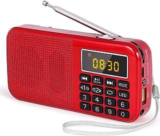 comprar comparacion J-725C Radio FM portátil pequeña, Radio de batería Recargable Digital con Reloj Despertador, Linterna LED, Tiempo de repro...