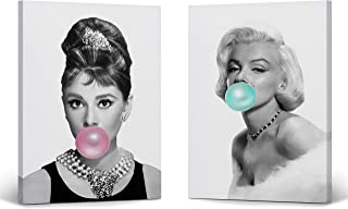 Audrey Hepburn and Marilyn Monroe Bubble Gum Chewing Gum Black and White Canvas Print Two-Piece Set/Home Decor/Icon Wall Art/Gallery Wrapped Canvas/Ready to Hang (22 x 15 x 2 Piece)