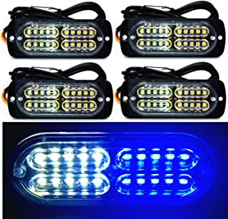 12-24V 20-LED Super Bright Emergency Warning Caution Hazard Construction Waterproof Amber Strobe Light Bar with 16 Different Flashing for Car Truck SUV Van - 4PCS (White Blue)