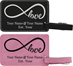 Personalized Name Infinite Love Personalized Laser Engraved Leather Luggage Tags