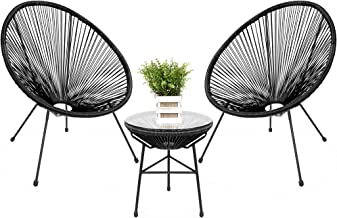 Best Choice Products 3-Piece All-Weather Patio Acapulco Bistro Furniture Set w/Rope, Glass Top Table - Black
