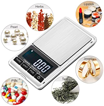 Digital Precision Gram Scale, 0.001oz/0.01g 500g Mini Pocket Scale, Portable Electronic Weight Jewelry Scales, Tare, ...
