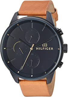 Tommy Hilfiger Men's Casual Stainless Steel Quartz Watch with Leather Strap, Camel, 20 (Model: 1791486)