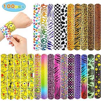 YIQIHAI 100pcs Bulk Slap Bracelets with Different Print Design Retro Slap Bands for Party Favors, 25 Design